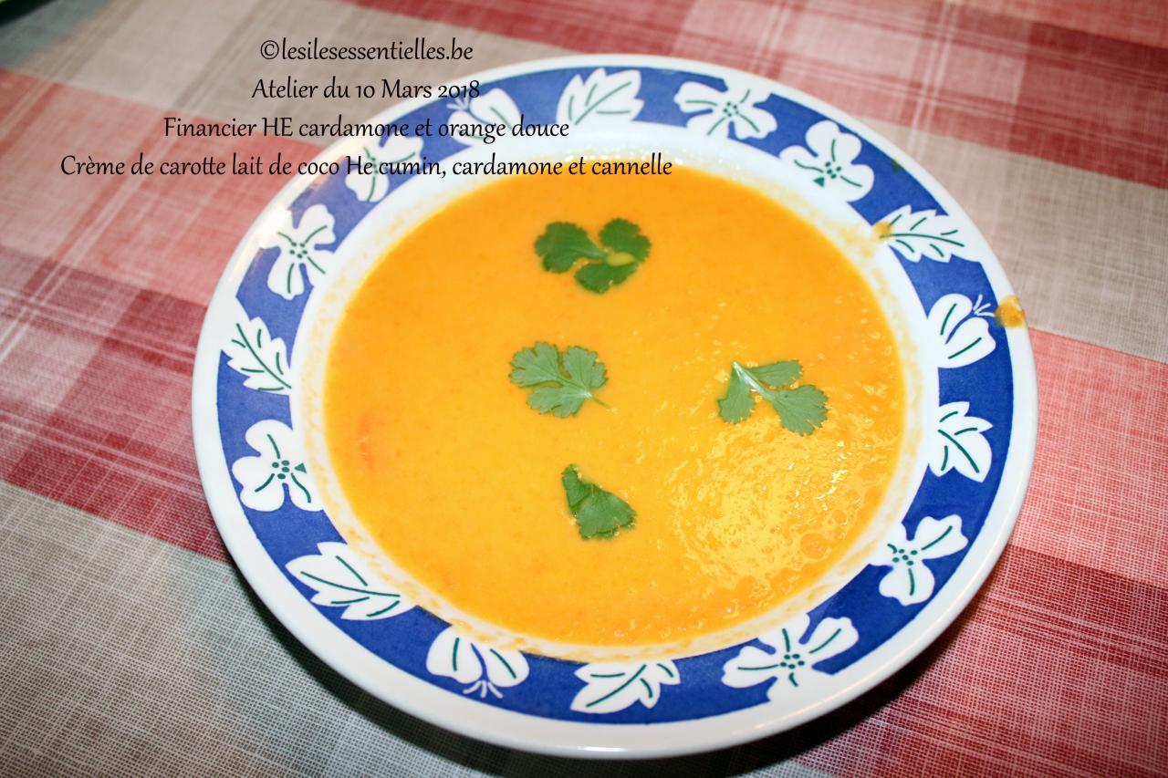 Crème de carotte lait de coco He cumin, cardamone et cannelle