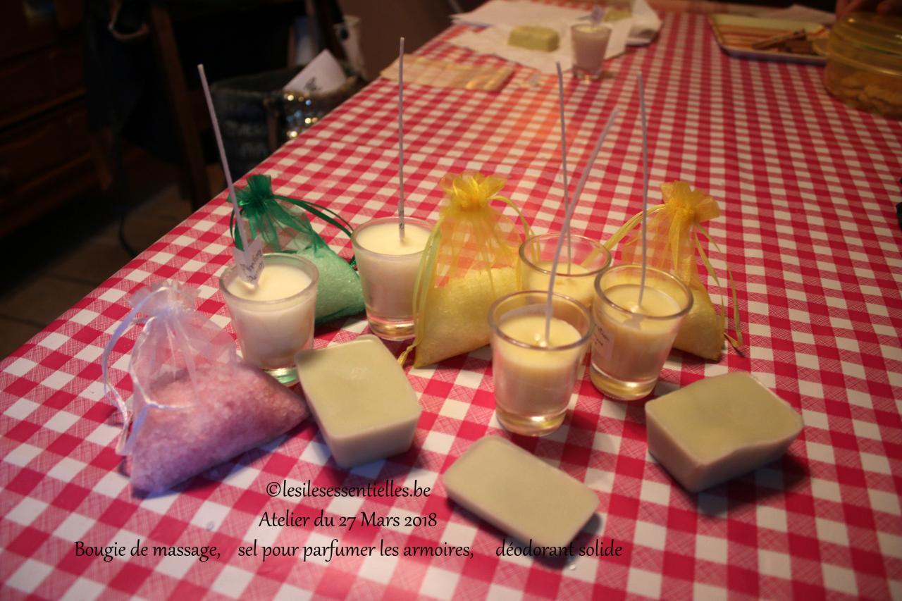 Bougie de massage,    sel pour parfumer les armoires,     déodorant solide
