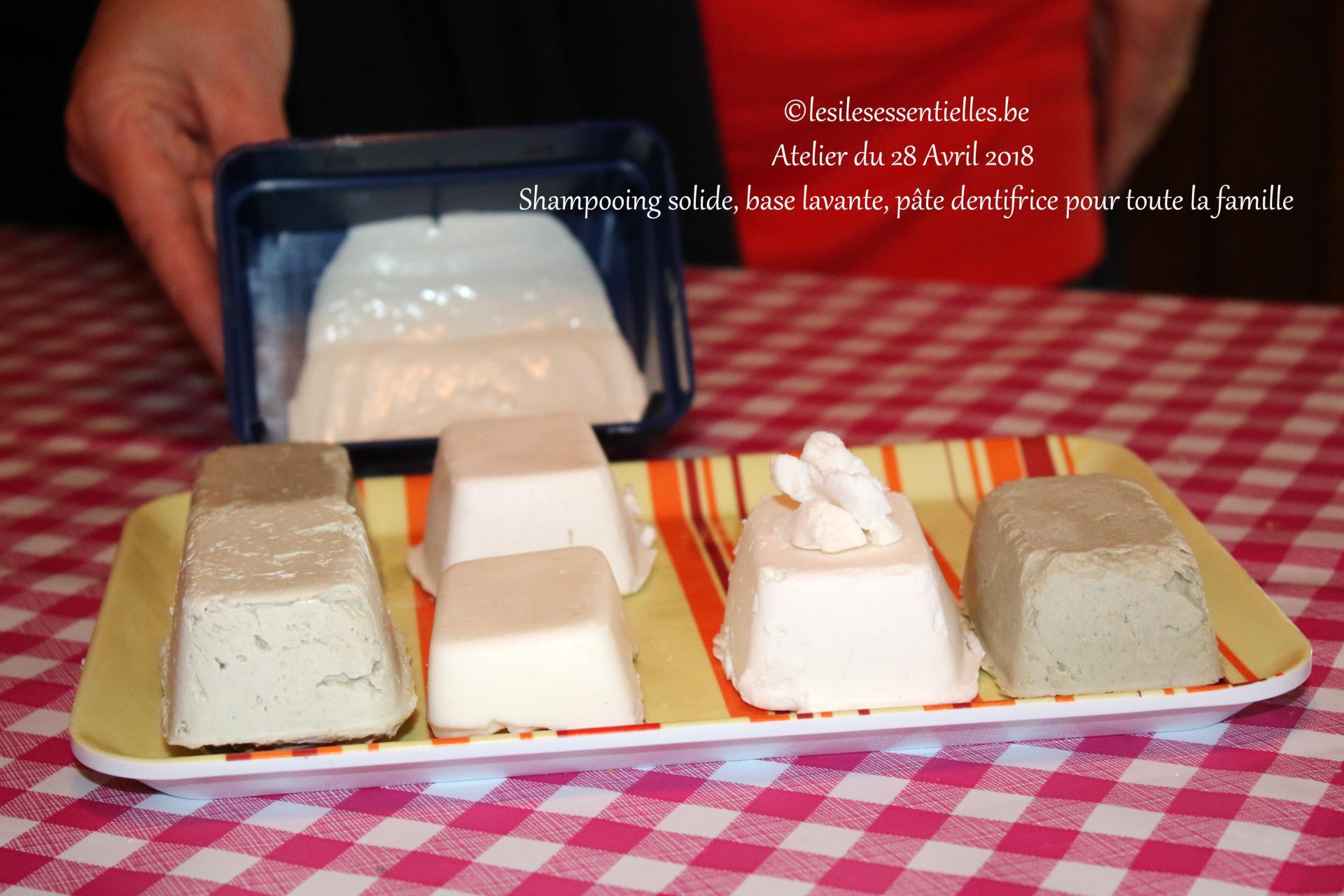 Shampoing solide, base lavante, pâte dentifrice pour toute la famille
