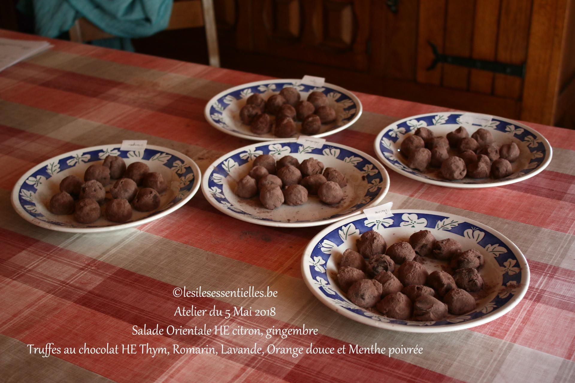 Truffes au chocolat HE Thym, Romarin, Lavande, Orange douce et Menthe poivrée